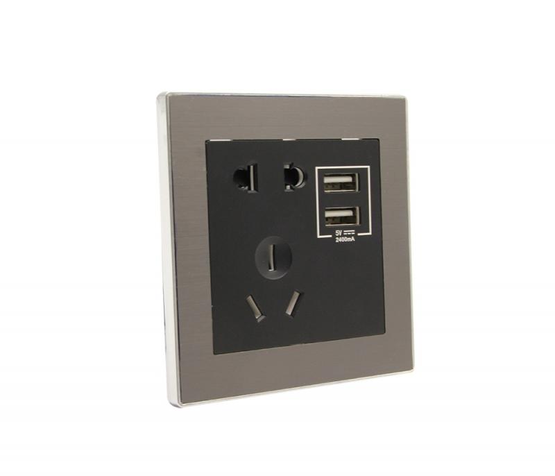 拉丝灰-双USB五孔